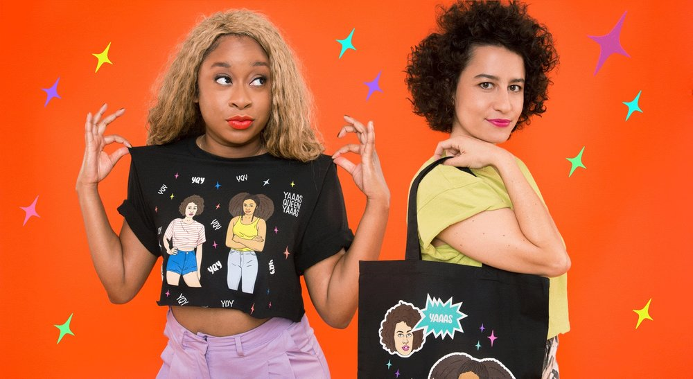 Ilana Glazer and Phoebe Robinson with their new line, YQA, at WIldfang.