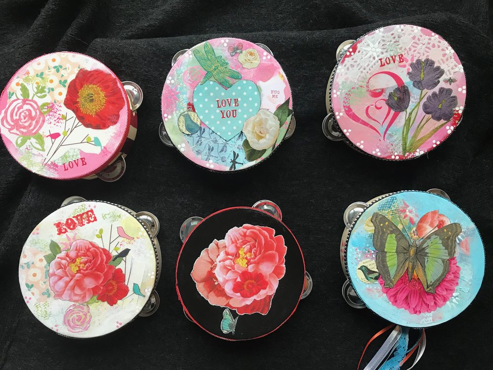 Tambourines with collage and paint - $60 each.