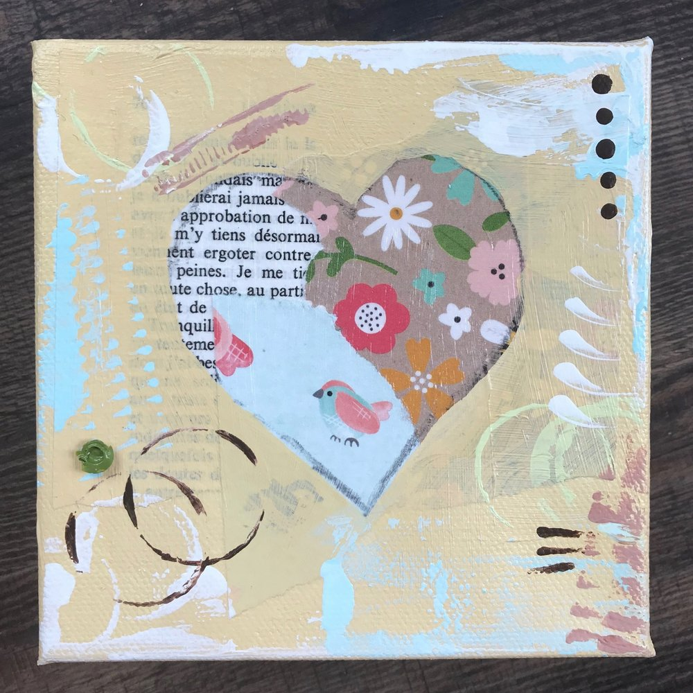 "A little birdie told me to share the love (5"" square canvas, $33 plus shipping)."
