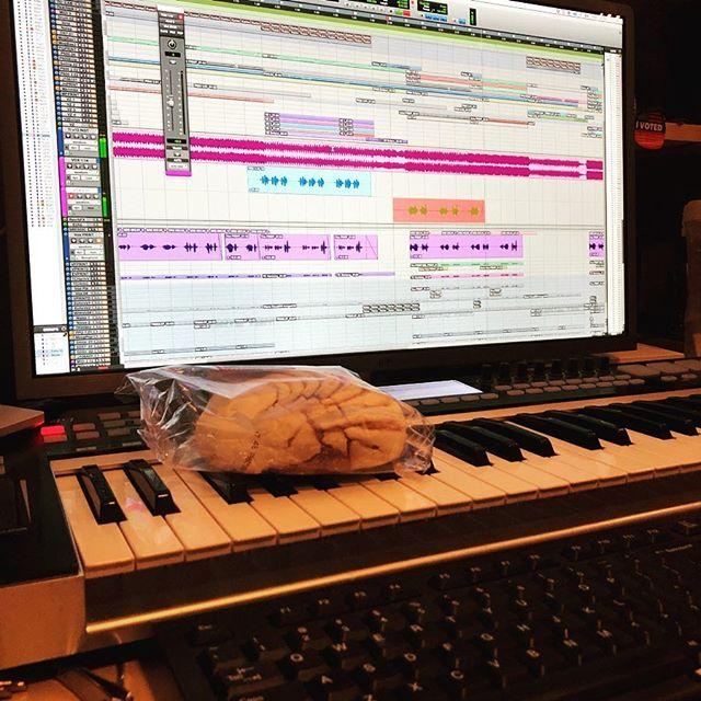 In the stu stu studio! Rec rec recording new music!!!!! #avid #protools #roland #sequential #strymon #universalaudio #bockmicrophones #aphex #akai #snacks