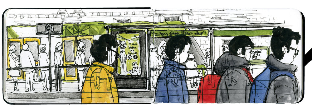 I carry my tiny tin of watercolours, a couple of favourite pens, a waterbrush and tiny sketchbooks like this one in my handbag… so I can draw quick sketches whenever I have a free moment. This one was done before a meeting in Melbourne… for me a quintessential Melbourne scene - our famous trams and a lot of people on their way to the office.