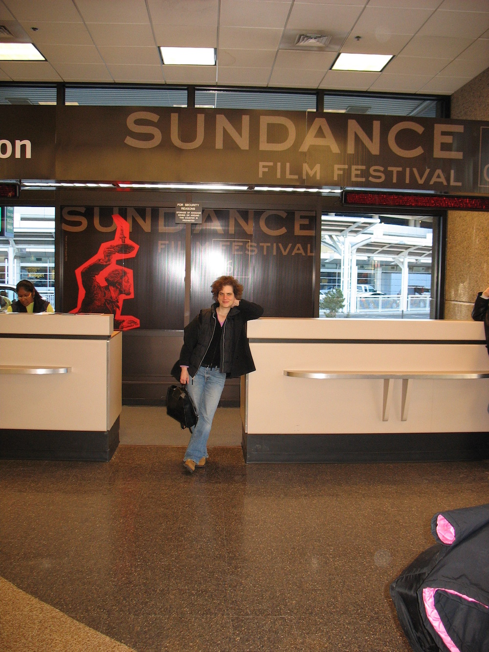 Salt Lake City Airport - awaiting the Sundance Shuttle