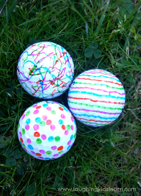 Sharpie decorated golf balls by  Laughing Kids Learn.