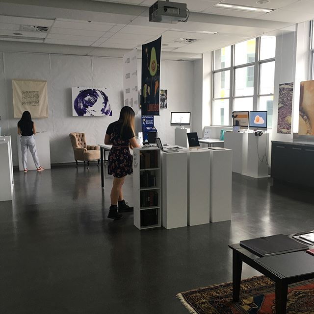Thanks so much to everyone who came to our opening night last night! It was amazing seeing you all and we hope you enjoyed it! Remember, we'll be open from 10-4, today through to Wednesday. These days are perfect for spending a bit more time perusing your favourite projects ✨ #openexhibition2017 #communicationdesign #autuni