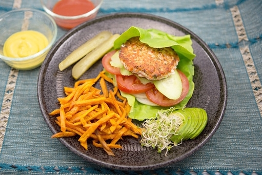 Inflammation Fighting Omega Salmon Burger w/Sweet Potato Fries