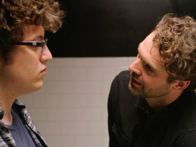 Left to right: Actors Dimitri Spiridakis (Danny) and Rob Hancock (Tony) in a pivotal moment between father and son.