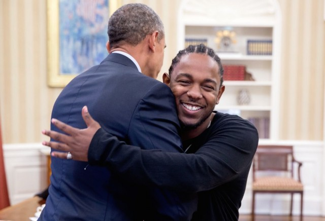 Kendrick Lamar meeting President Barack Obama during a White House visit in 2016.
