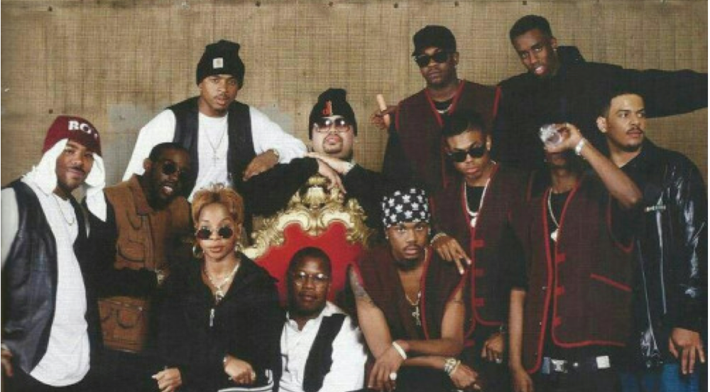 A photo of Andre Harrell's Uptown Records, including Mary J. Blige, Heavy D, Christopher Williams, Jodeci, and Puff Daddy (aka Diddy).