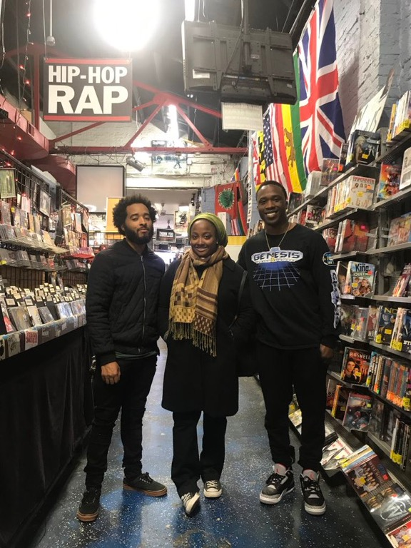 From left to right: producer eu-IV,  Transcending Sound 's amirahrashidah, and emcee Mike McFly at Baltimore's The Sound Garden in March 2018. Photo courtesy of Mike McFly.