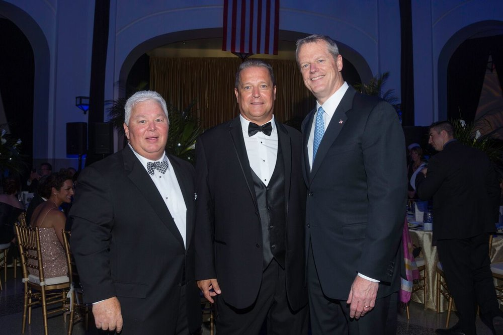 (From left to right): Paul Picknelly, Dennis Murphy, Gov. Charlie Baker at the Union Station gala on June 24, 2017 in Springfield, Massachusetts.