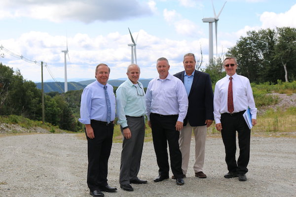 Dennis Murphy with MMWEC officials and State Representative Tom Golden (middle) at the Berkshire Wind Power Project in Hancock, Massachusetts.