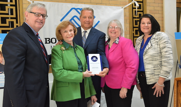 Harriette Chandler, President of the Massachusetts Senate, accepts the 2018 Champion of Youth Award from the Massachusetts Alliance of Boys & Girls Club on March 15, 2018 at the Massachusetts State House.