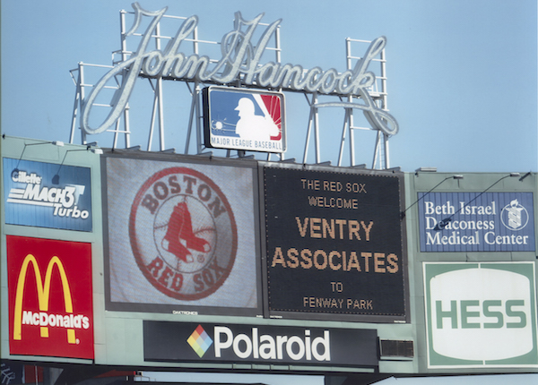 Ventry Associates recognized at Fenway Park.