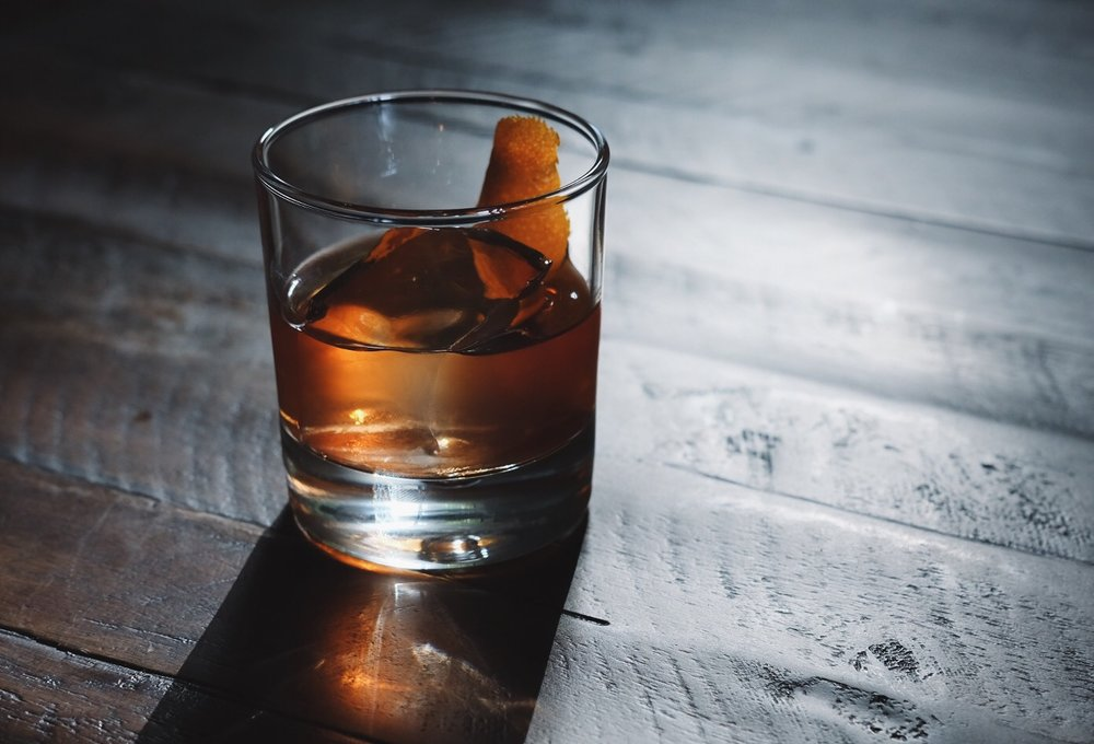 ingredients: - 2 oz rye whiskey1 tsp Demerara syrup (or simple syrup will work in a pinch)3 dashes of aromatic bitters2 dashes of orange bittersGarnish: orange zest