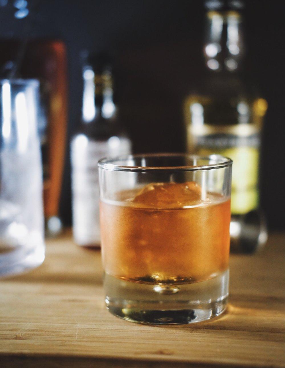 ingredients: - 2 oz lightly aged rum1/2 oz apple brandy1/2 oz yellow chartreuse1 tsp true grenadine1 dash Peychaud's bitters