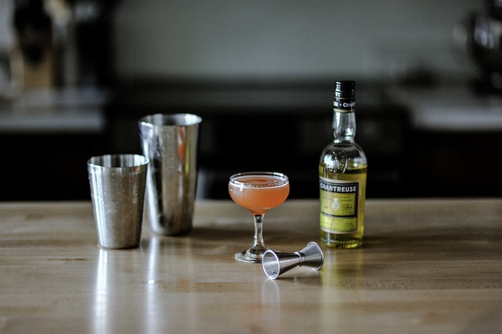 ingredients: - 3/4 oz mezcal3/4 oz Aperol3/4 oz Yellow Chartreuse3/4 oz lime juice