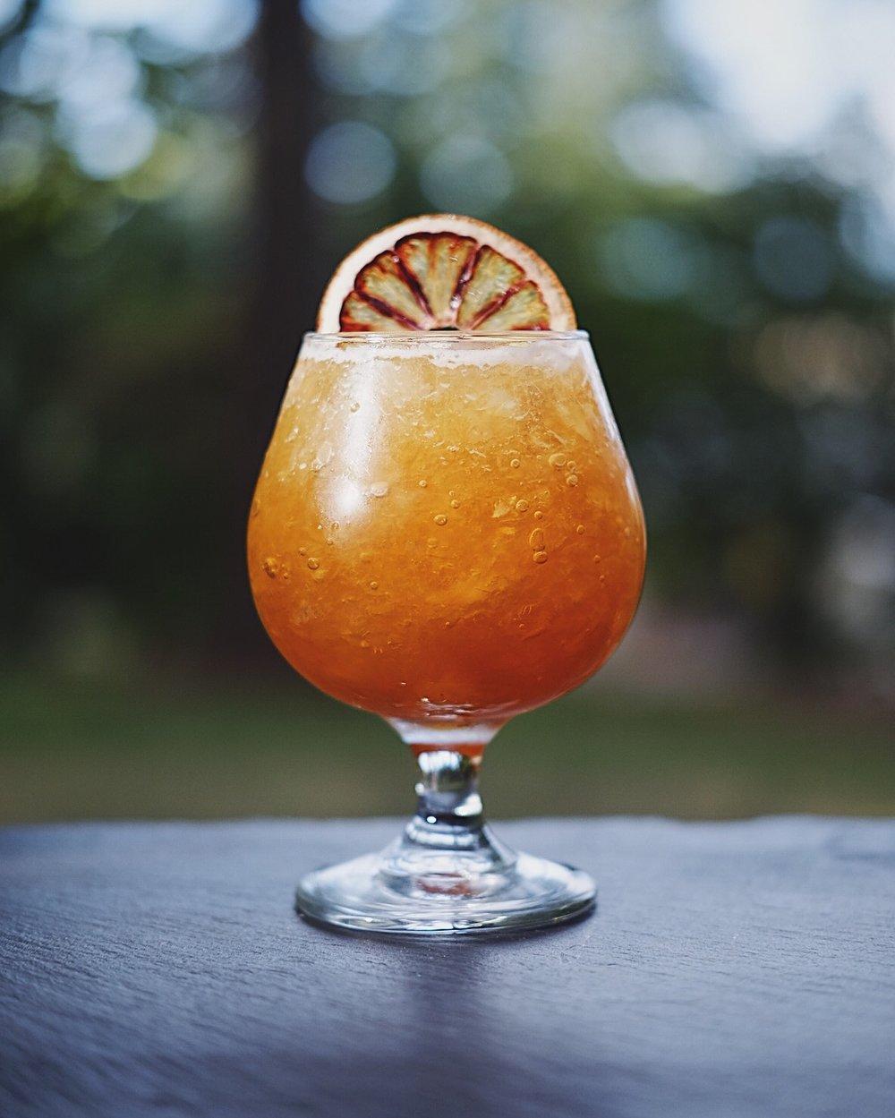 ingredients: - 1 oz blackstrap rum1/2 oz blended rum (i used Eclipse, because duh)3/4 oz Kashmiri Amaro3/4 oz fresh lemon juice1/2 oz Falernum1/2 oz Demerara syrup3 dashes barrel aged bittersGarnish: dehydrated blood orange wheel
