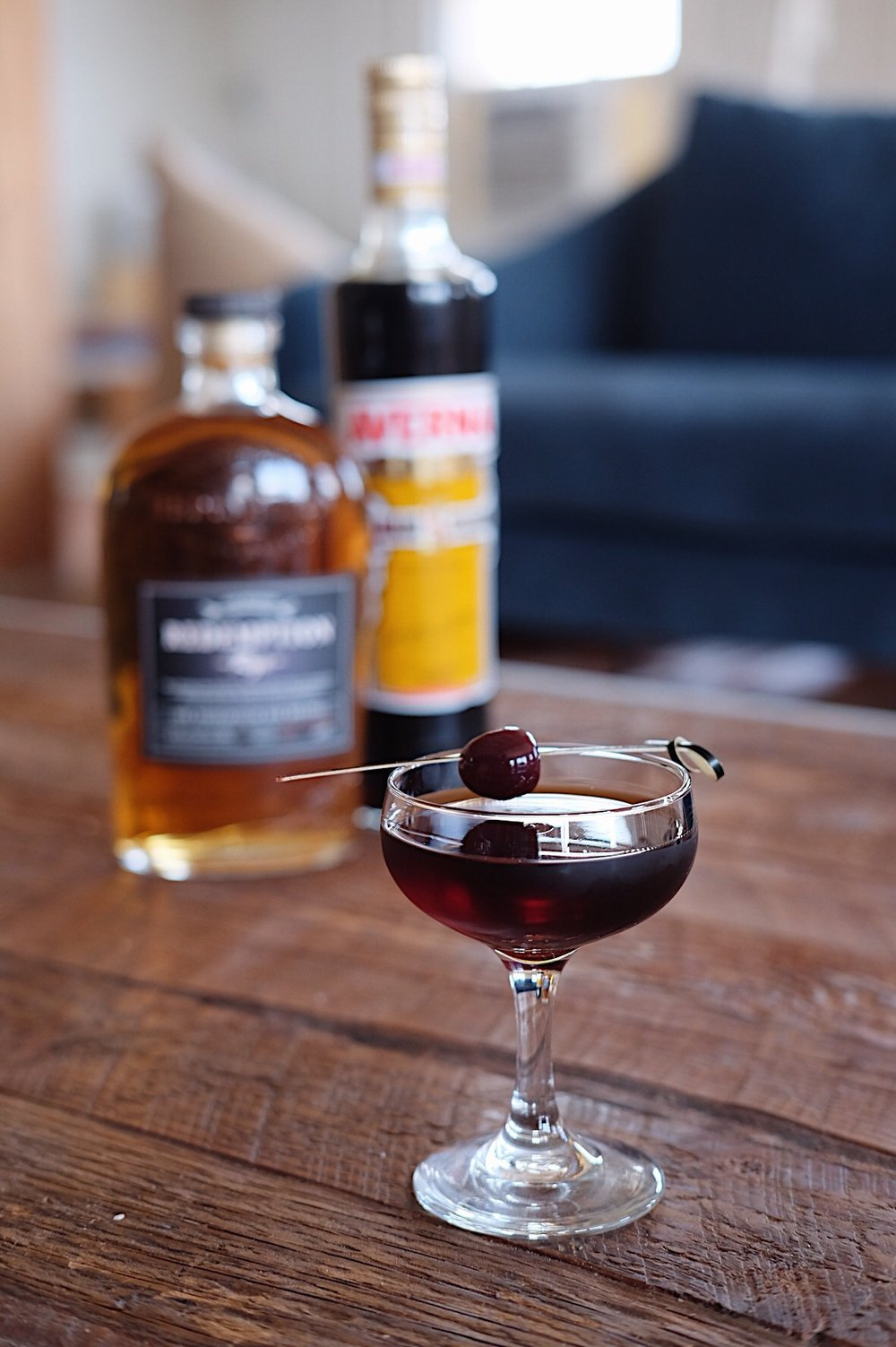 ingredients: - 2 oz rye whiskey1 oz Amaro Averna1 dash orange bitters1 dash aromatic bittersGarnish: Luxardo maraschino cherry