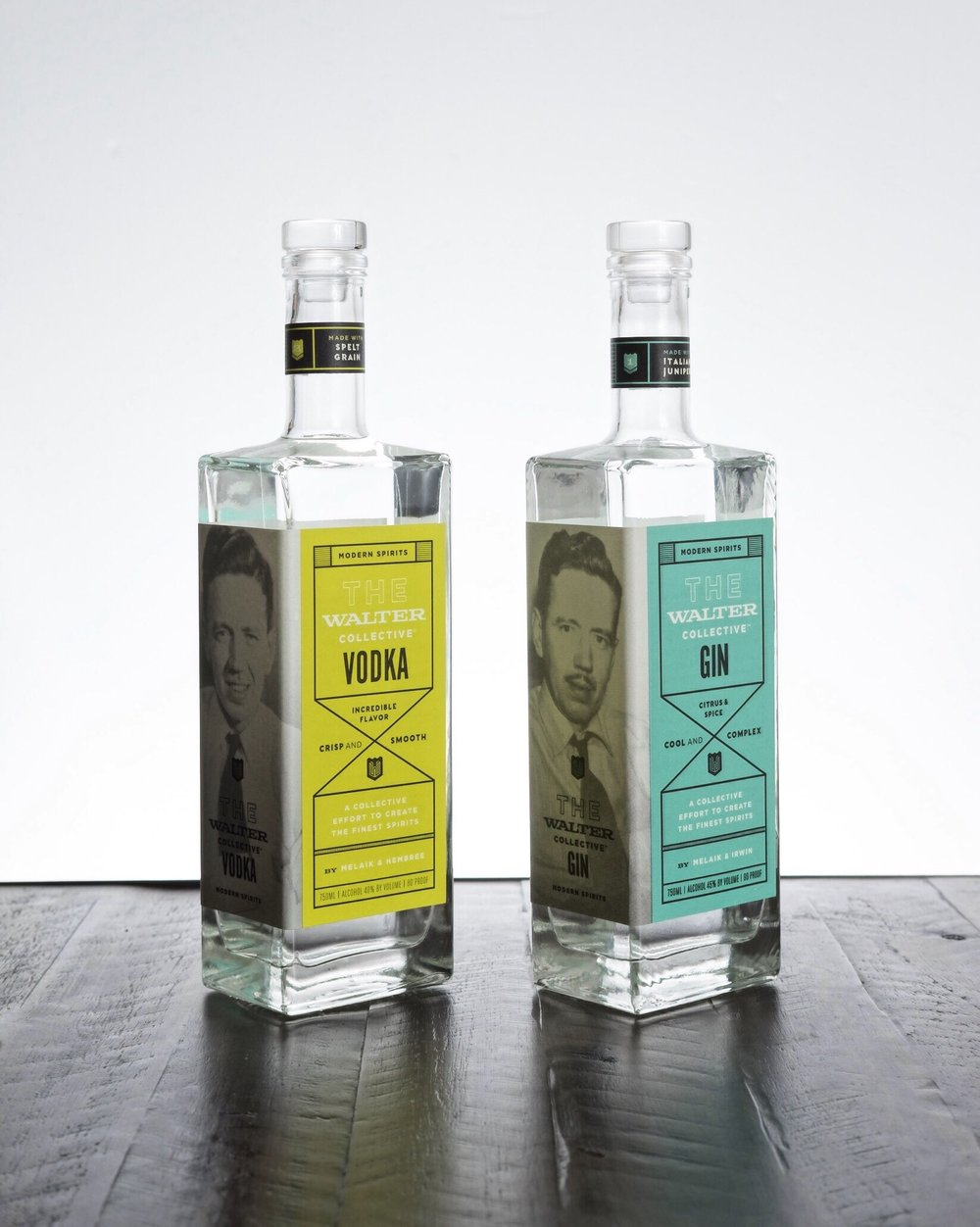 The Walter Collective, gin & vodka  - AGE: n/aCOST: $30-$35ABV:Gin: 45%Vodka: 40%DEFINING FLAVORS:Gin: Citrus & SpicyVodka: Nutty