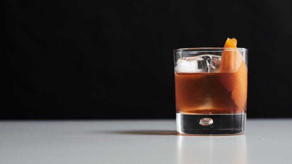 Old Fashioned - 2 oz spirit1 teaspoon sugar syrup2-3 dashes aromatic bittersOrange peelStirred & served on the rocks