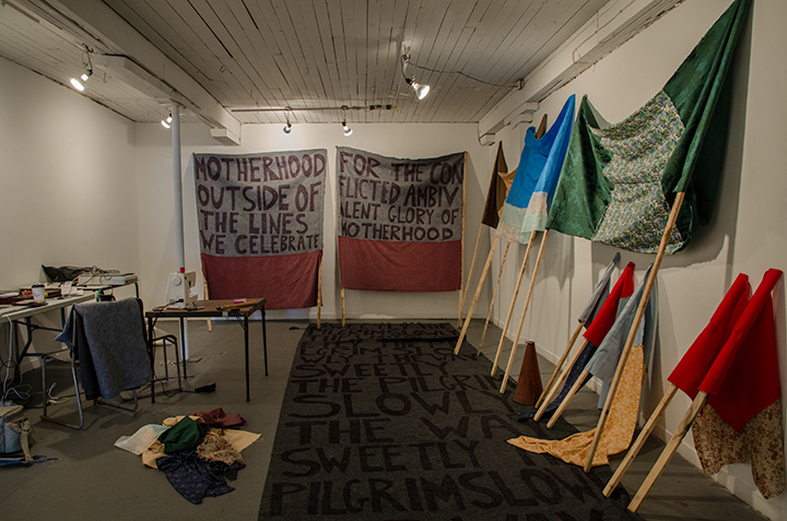 Studio at Struts and Faucet, Sackville, New Brunswick. Banners in preparation for Mothers March.