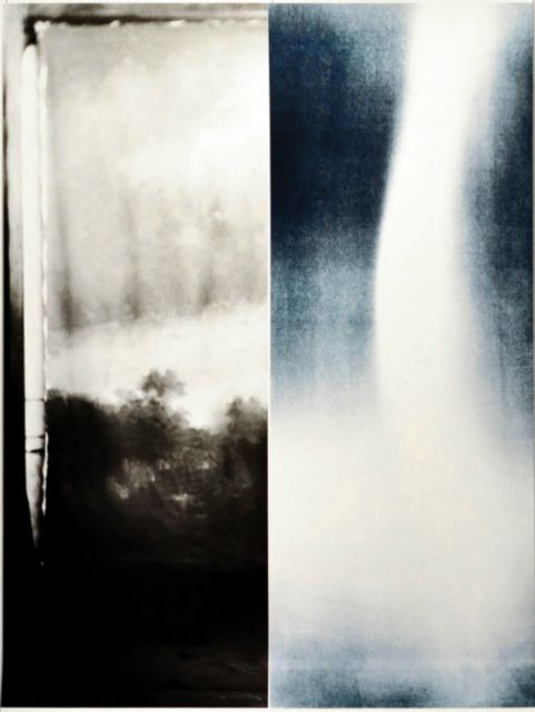 "Detail of 2 panel print. • 2 panel photographic print using scan of glass plate negative found at Enjoy in late 1990s of soldiers before leaving for WWI, and light registered through cyanotype in May 2013. Each panel 22 x 60"" on hahnemuhle rag paper, 2013."