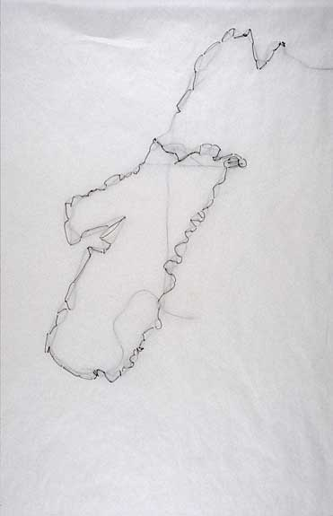 Nova Scotia • Nova Scotia as sewn from memory (one of 26), thread and tracing paper, 11 x 14, 2005.