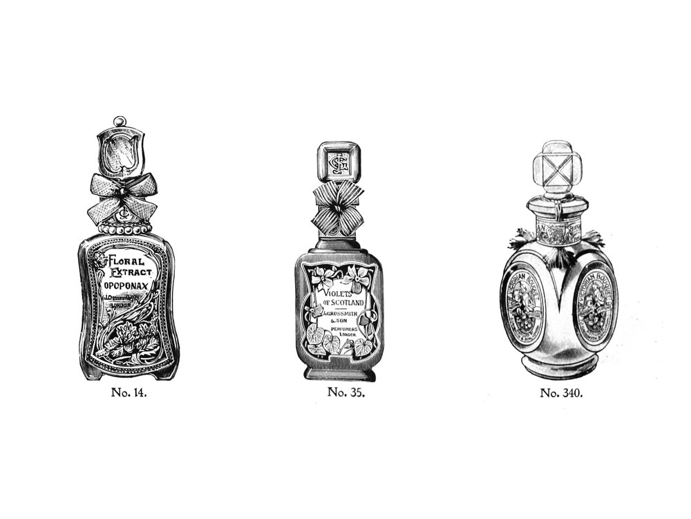 Grossmith glass bottles with glass stoppers advertised in 1906.