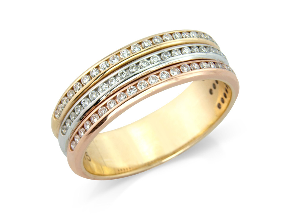 Jane  A Beautiful 6mm eternity style wedding ring, with diamonds channel set in three different colours of 9 carat yellow, rose and white gold.