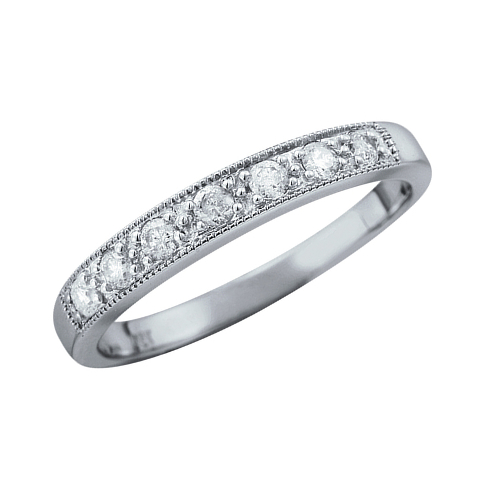 Charlotte  A Diamond Half Eternity, having milgrain detail, 3mm wide. Available in a number of different colours and metals.