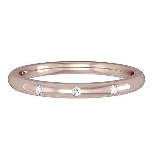 MARY   A 2mm court wedding ring, having 3 diamonds set evenly in a rub over setting. 0.05ct tw. Available in a number of different widths, colours and metals.   Available with x8 diamonds
