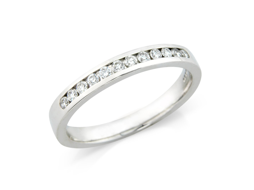 isabella  A Channel Set Half Eternity, the perfect and classic eternity ring. Available in a number of different carat weights and materials.