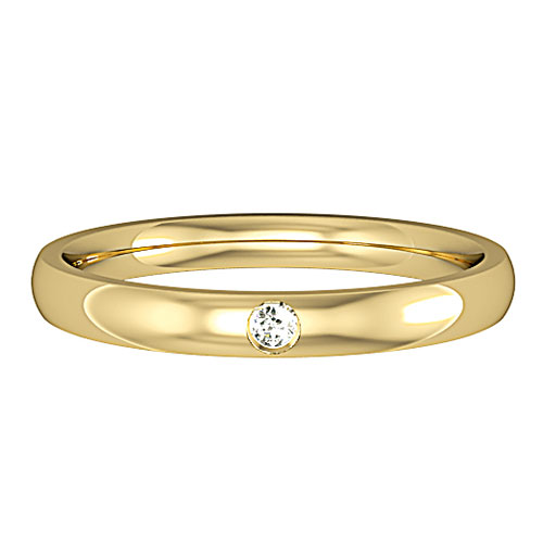 MARIA  A single diamond set wedding ring, having one round brilliant diamond 0.18ct set to the centre of the  wedding profile of your choice.  Available in a number of different colours and widths.