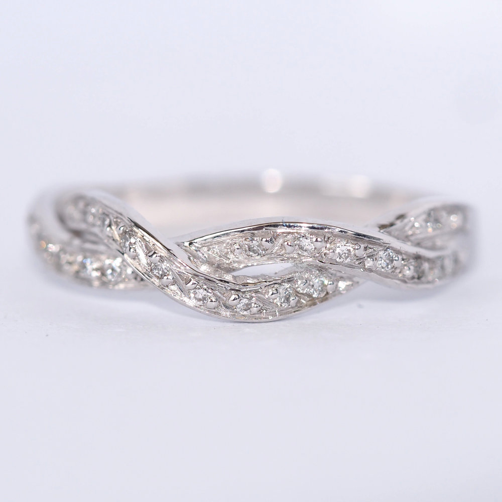 abigail   A Handmade to order ring, made here in Sheffield by our Jeweller DJH.   This beautiful diamond set half eternity, will look beautiful either as a stand alone piece or as a wedding band. Custom made to suit your ring, at widest point approximately 3mm.