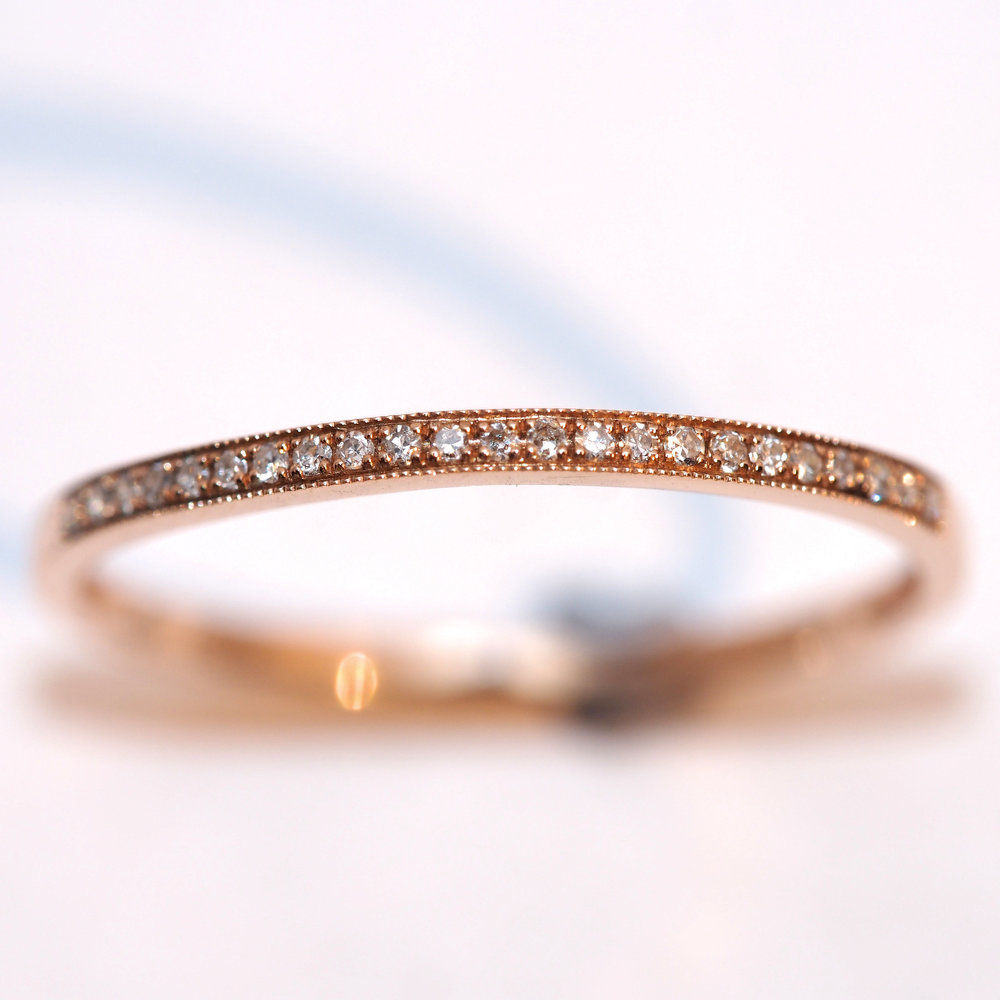 cleo  9K Rose Gold Diamond Set Half Eternity Ring, making a perfect wedding or dress ring. Being 1.5mm wide with 27 diamonds in a millgrain setting.