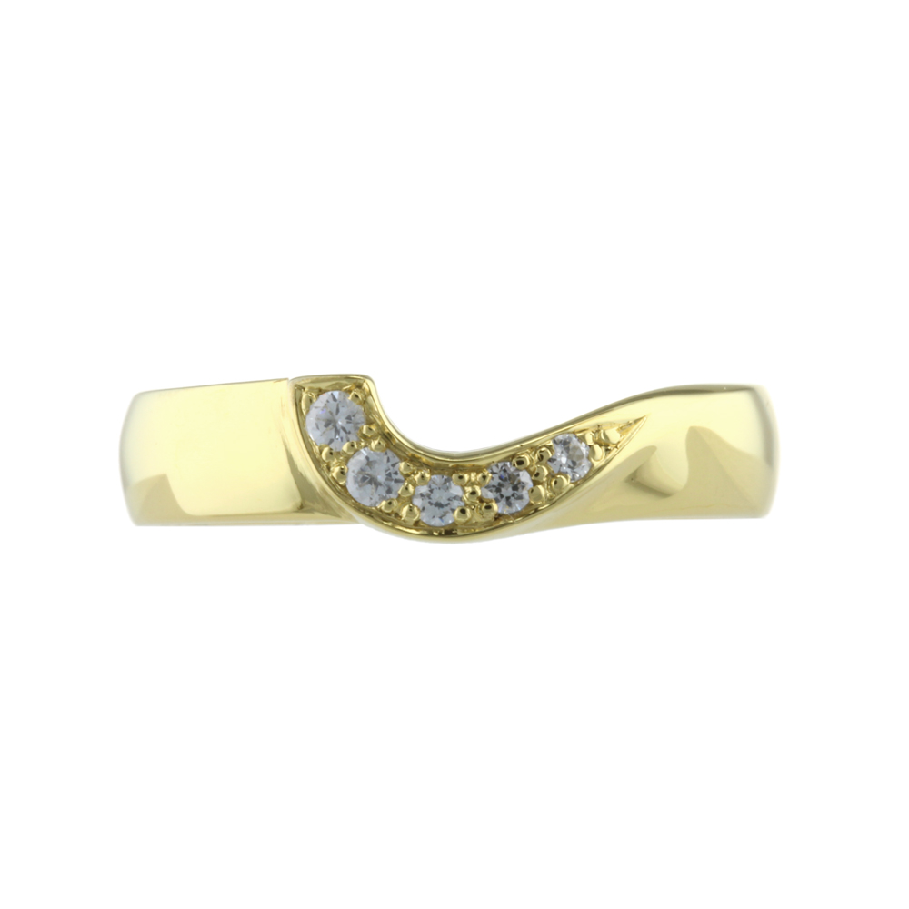 jasmine  A Diamond Set cut out wedding ring, with a flat edge and cut out detail handmade to fit any engagement ring.