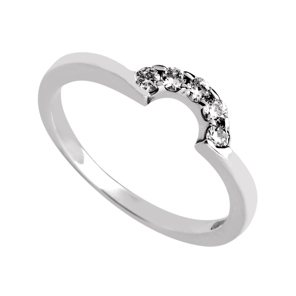 willow  A Curved Wedding Ring, set with five round brilliant diamonds in a claw setting. Perfect for a large Solitaire.