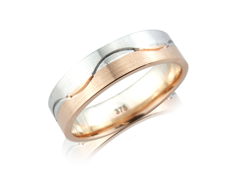 Azalea   To match the diamond set Kitty ring, this two colour ring with wave detail comes in a range of different widths, colours and metals. Its perfect for someone looking for something a little different. Made to order in a number of different colours, widths and metals
