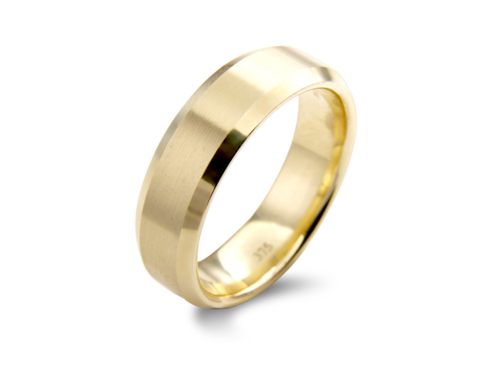 bevel  A Flat Court Wedding Ring, with a bevelled edge. A simple, classic and our best selling mens wedding ring. Available in a number of different of widths, colours and metals.