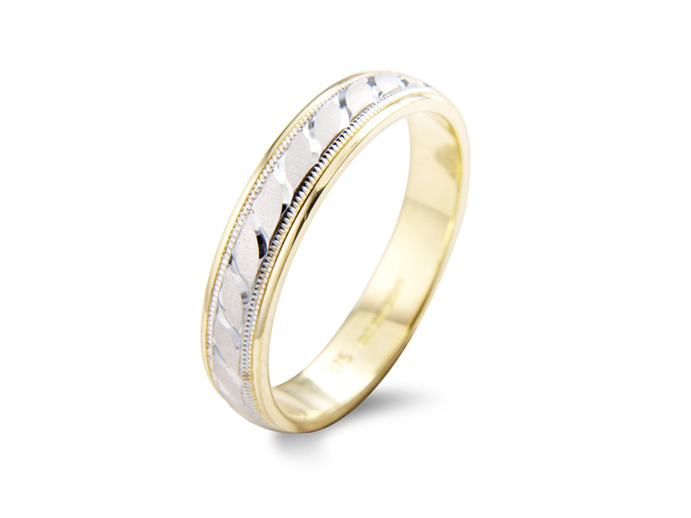 bellflower  A D-Shape Profile wedding ring, having millgrain detail to the edges a satin centre with curved line detail. Made to order in a number of different colours, widths and metals