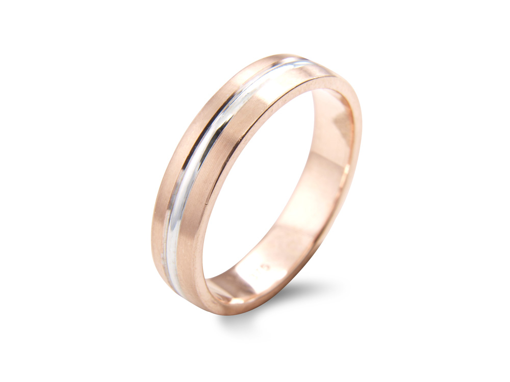 clover  A Shallow Court Wedding Ring, with grooved detail to the centre. Made to order in a number of different colours, widths and metals