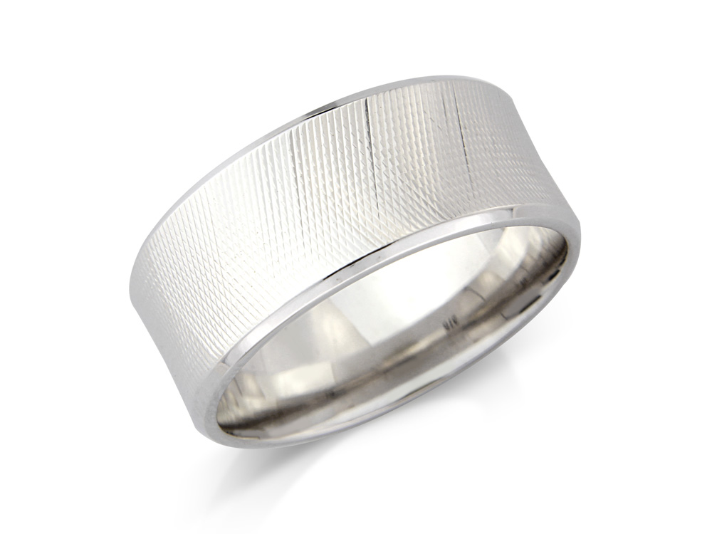 Zinnia    A Machine Finish Wedding Ring, in a concave style.  Made to order in a number of different colours, widths and metals.