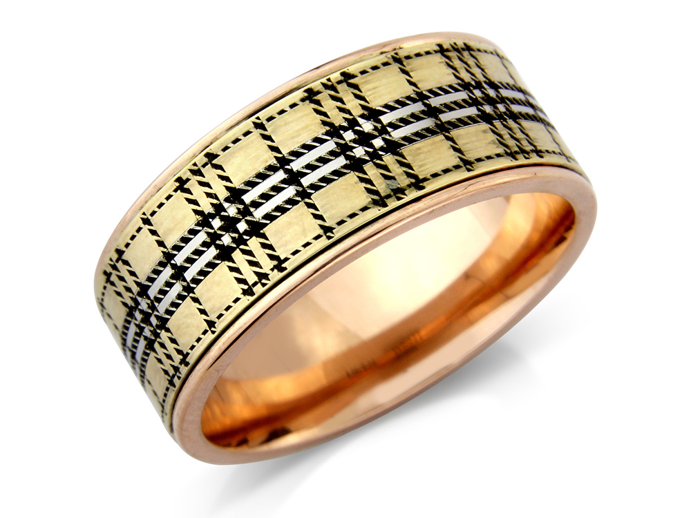 gallway  A Tartan Wedding Ring, with polished edges one shown Rose Gold in 8mm. Made to order in a number of different colours, widths and metals.