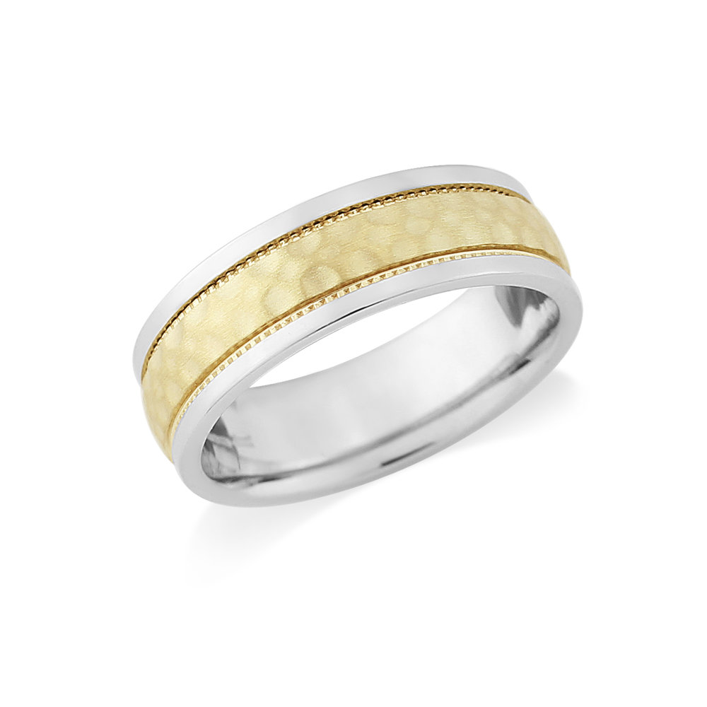 Martello   A Two Colour Hammered Finished Wedding Ring, with mill grain detail and polished edges. Made to order in a number of different colours, widths and metals.