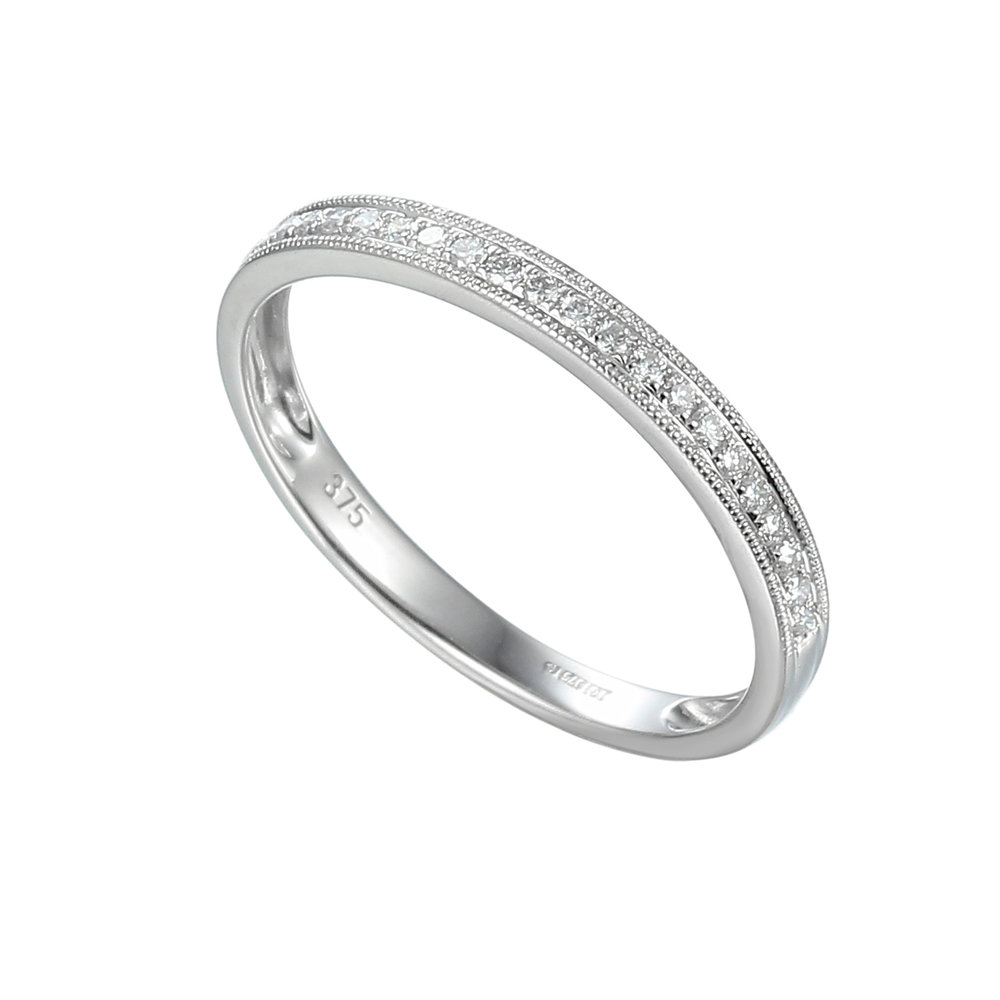 PHILIPA  A Milgrain Diamond Half Eternity having 0.23ct diamonds in 9ct White Gold. Made to order allow 4 weeks for delivery.