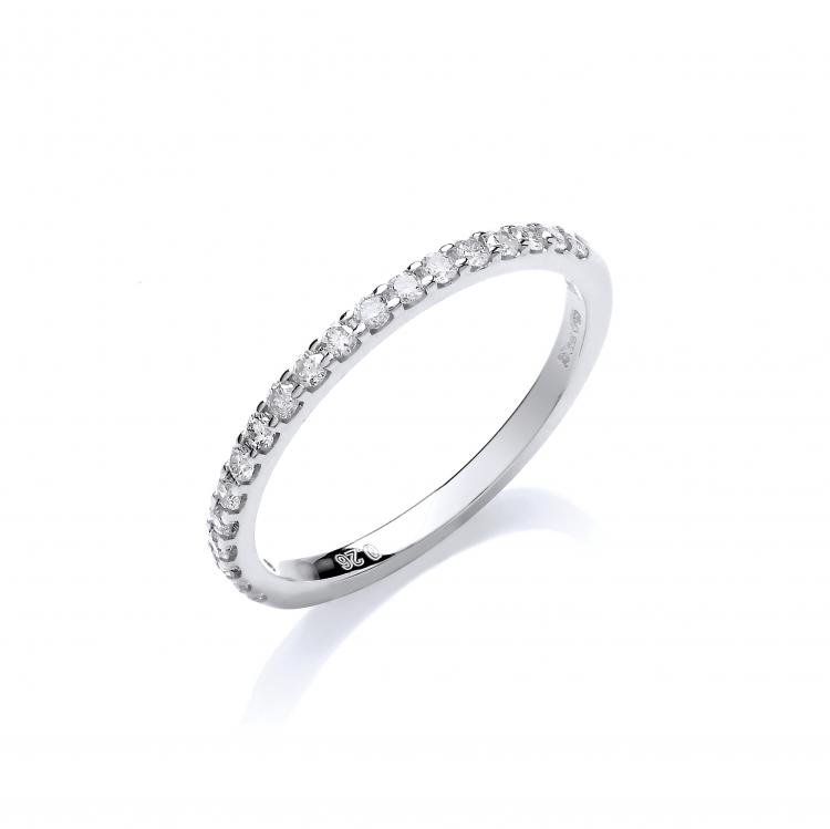 ANNA   A 9ct White Gold Half Eternity, set with Colour H, SI Diamonds totaling 0.26ct. Measuring 1.8mm in width a D-Shape Profile. Available in a number of different widths and metals.