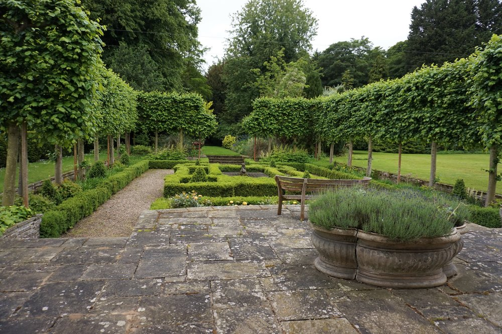 The terrace and formal sunken garden.