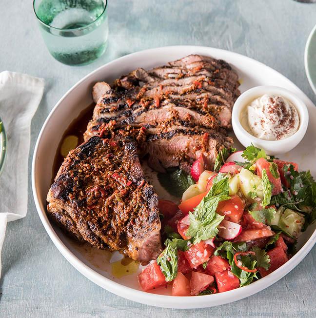 Harissa butterflied lamb leg, smoked eggplant &  Watermelon radish salad .jpg