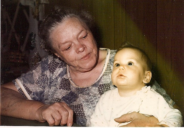 My great grandma Ruby and I, 1973