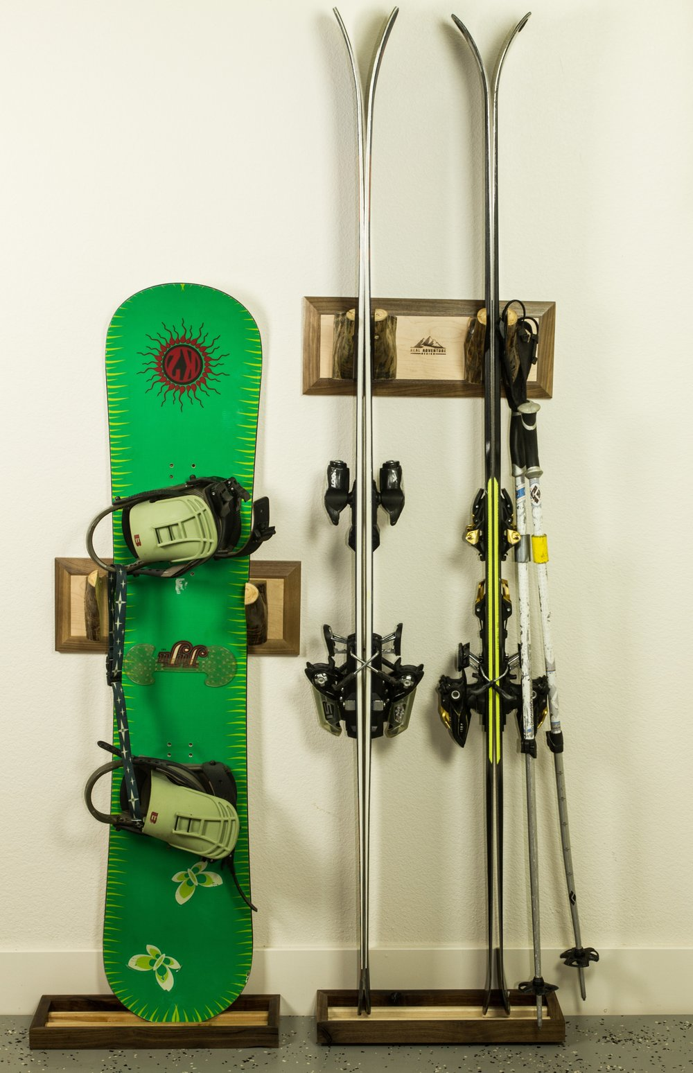 There are two ways to hold a snowboard.